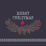 Merry christmas and happy new year greeting card wreath backgrou Royalty Free Stock Photos