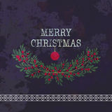 Merry christmas and happy new year greeting card wreath. Grunge background Stock Photos