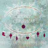 Merry christmas and happy new year greeting card wreath. Grunge light background Vector Illustration