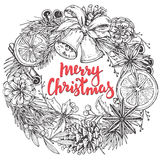 Merry Christmas and Happy New Year greeting card with wreath Royalty Free Stock Photography
