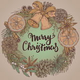 Merry Christmas and Happy New Year greeting card with wreath Royalty Free Stock Photos