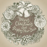 Merry Christmas and Happy New Year greeting card with wreath Stock Images