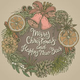 Merry Christmas and Happy New Year greeting card with wreath Stock Image