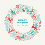 Merry Christmas and Happy New Year greeting card. Merry Christmas and Happy New Year wreath shape greeting card background. EPS10 vector file organized in layers Royalty Free Stock Photography