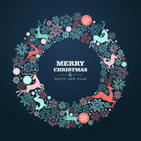 Merry Christmas and Happy New Year greeting card. Merry Christmas and Happy New Year wreath shape greeting card background. EPS10 vector file organized in layers Royalty Free Stock Photos
