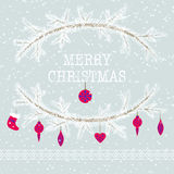 Merry christmas and happy new year greeting card wreath vector b. Merry christmas and happy new year greeting card wreath vector light background Stock Photo