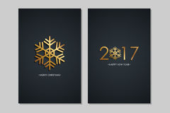 Merry Christmas and 2017 Happy New Year greeting cards with golden colored elements and black background. Vector illustration Stock Image