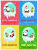 Merry Christmas and Happy New Year Greeting Cards. Merry Christmas Happy New Year greeting card Santa and Elf singing carol songs, fatigue with stars over head stock illustration