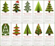 Merry Christmas and Happy New Year Greeting Cards. Set of posters with text and types of decorated Xmas trees with balls and garlands, abstract vector Royalty Free Stock Image
