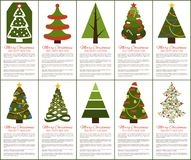 Merry Christmas and Happy New Year Greeting Cards. Set of posters with text and types of decorated Xmas trees with balls and garlands, abstract vector Stock Image