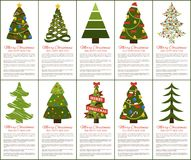 Merry Christmas and Happy New Year Greeting Cards. Set of posters with text and types of decorated Xmas trees with balls and garlands, abstract vector Stock Photos
