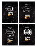 Merry Christmas and Happy New Year 2016 greeting cards set. Merry Christmas and Happy New Year 2016 greeting card,  illustration Royalty Free Stock Photos