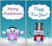Merry christmas and happy new year greeting cards set of cute snowman and snowgirl. Merry christmas and happy new year greeting cards set of cute little baby royalty free illustration