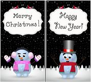 Merry christmas and happy new year greeting cards set of kawaii snowman and snowgirl. Merry christmas, happy new year greeting cards set of kawaii little baby royalty free illustration