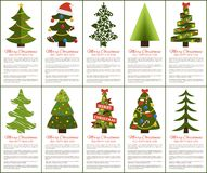 Merry Christmas and Happy New Year Greeting Cards. Set of posters with text and types of decorated Xmas trees with balls and garlands, abstract vector Stock Photo