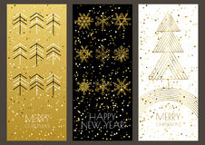 Merry Christmas or Happy New Year greeting cards set Royalty Free Stock Photography