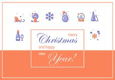 Merry Christmas and Happy New Year. Greeting Cards Template Royalty Free Stock Photography