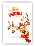 Merry Christmas and Happy New Year greeting royalty free illustration