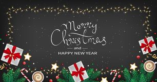 Merry Christmas and Happy New Year Greeting flyer. Winter. Elements fir branches, paper gifts boxes, cup of coffee, cookies, sweets, ribbons in the frame of Royalty Free Stock Images