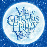 Merry Christmas & happy new year greeting. Merry Christmas & happy new year inscription, shining moon in the background stock illustration