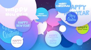 Merry Christmas And Happy New Year Greeting Messages On Chat Bubble Background Winter Holiday Poster Design Royalty Free Stock Photography