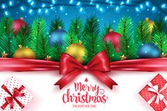 Merry Christmas and Happy New Year Greeting Typography Creative Banner Stock Photography