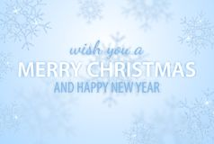 Merry Christmas and Happy New Year greeting vector illustration with glitters, sparkles and glowing snowflakes for holiday poster royalty free stock image
