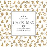 Merry christmas and happy new year greetings. On background consists of typical christmas icons vector illustration