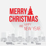 Merry Christmas and Happy New Year greetings card. With red letters on light gray background with skyscrapers old city houses, vehicles, trees Stock Photos