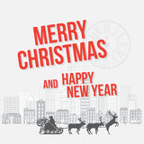 Merry Christmas and Happy New Year greetings card Royalty Free Stock Photo
