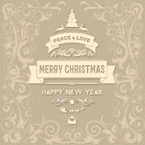 Merry Christmas and Happy New Year greetings card Stock Image