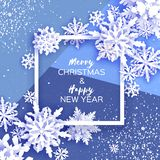 Merry Christmas and Happy New Year Greetings card. White Paper cut snowflakes. Origami Decoration background. Seasonal vector illustration