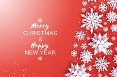 Merry Christmas and Happy New Year Greetings card. White Paper cut snowflakes. Origami Winter Decoration background royalty free illustration