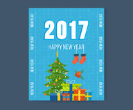 Merry Christmas, Happy New Year greetings card with winter background. Christmas wishing card with traditional celebrating text. Merry Christmas and Happy New Royalty Free Stock Photography