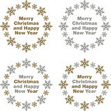 Merry Christmas and Happy New Year. Greetings in gold and silver snowflake border icons Stock Photos