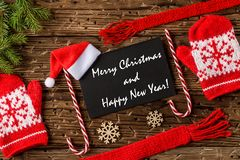 Merry Christmas and happy new year greetings postcard stock photo