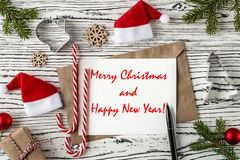 Merry Christmas and happy new year greetings postcard. Top View stock photography
