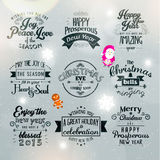 Merry Christmas and Happy New Year 2015 Greetings. Merry Christmas and Happy New Year 2015 Season Greetings Quote Vector Design Royalty Free Stock Photos