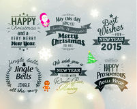 Merry Christmas and Happy New Year 2015 Greetings. Merry Christmas and Happy New Year 2015 Season Greetings Quote Vector Design Royalty Free Stock Image