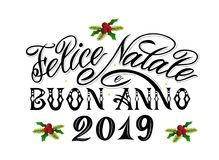 Merry Christmas and Happy New Year 2019 greetings text in italian language. royalty free illustration