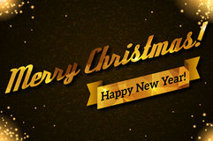 Merry Christmas and Happy New Year greetings. Vector illustration. Gold lettering on black textured background. Lights and sparkles. Golden ribbon Stock Photography