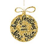 Merry Christmas and Happy New Year. Hand drawn calligraphy text. Holiday typography design with glitter christmas ball. Royalty Free Stock Photography