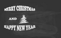 Merry Christmas and Happy New Year hand drawn chalk sketch on a blackboard Royalty Free Stock Photo