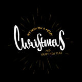 Merry Christmas and Happy New Year. hand drawn design. Modern calligraphy and brush lettering. Vintage retro textured royalty free illustration