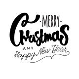 Merry Christmas and Happy New Year. hand drawn retro design. Royalty Free Stock Images