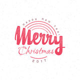 Merry christmas and happy new year 2017 hand-lettering text . Handmade vector calligraphy for your design Stock Photography