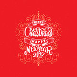 Merry christmas and happy new year 2017 hand-lettering text . Handmade vector calligraphy for your design Stock Image