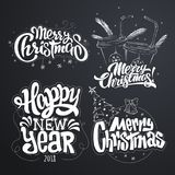 Merry Christmas. Happy New Year. Handwritten modern brush lettering, Typography set.  stock illustration