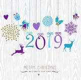 Merry Christmas and Happy new year hang retro 2019. Merry Christmas and Happy New Year 2019 hanging vintage xmas ornaments, hipster wood background. Ideal for royalty free illustration