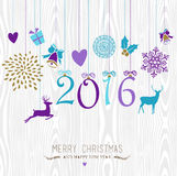 Merry Christmas and Happy new year hang retro 2016 Royalty Free Stock Images